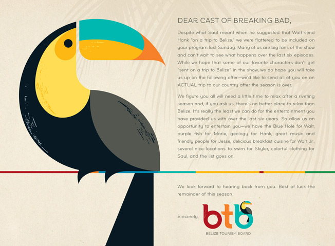 Belize Tourism Board message to Cast of Breaking Bad